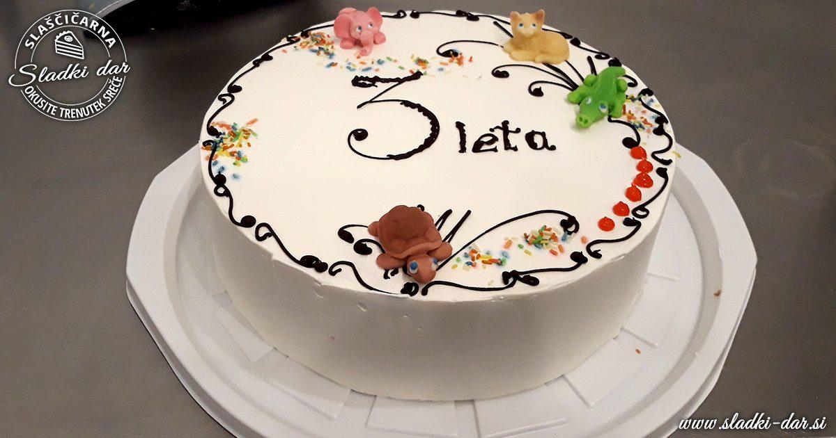 rojstnodnevna torta, 3 leta, bela torta